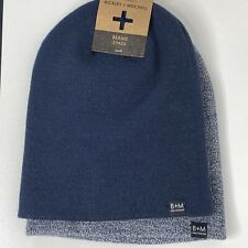 Bickley + Mitchell Men's Ribbed Knit Slouchy Logo Beanie 2 Pack NWT Blue/Heather