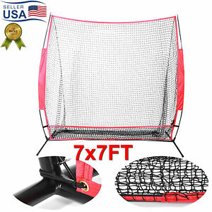 7x7FT Baseball Training Softball Aids Net Hitting Batting Practice With Bag