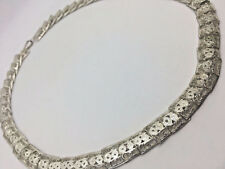 """925 Sterling Silver 18"""" Square Filligree Overlapping Link Necklace - 32.8g  #741"""