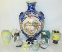 Lovely  Lot of vintage Large and  MINIATURE Japanese porcelain bud Vases Dragon