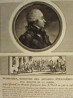 1802 Stampa Francese Revolution ~ Dumouriez Ministro Per Foreign Affairs