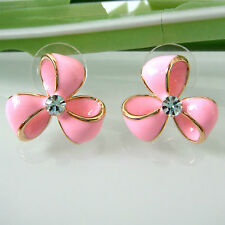 Navachi Pink Enamel Clover Flower 18K GP Crystal Earrings BH2887