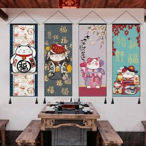 Japanese Wall Hanging Pictures Tapestry Lucky Cats Canvas Posters Wall Art