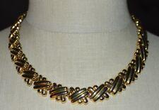 Criss Cross Gold Tone Choker Necklace Vintage