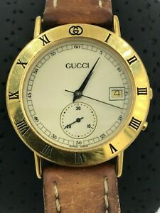 Gucci Watch Chronograph Gold Brown Ivory Hysteria 3800m For Parts Or Repair