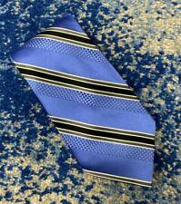 Bugatti Blue Black Gray White Bias Stripes 100% Silk Necktie