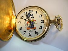 DISNEY MICKEY MOUSE POCKET WATCH NEW W/WOOD BOX AND CHAIN AND FOB LOWERED PRICE
