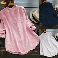Womens Casual Baggy t Shirt Blouse V Neck Long Sleeve Tunic Tops Plus Size
