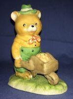 Cute Vtg Ceramic? Bear Figurine Pushing Wheel Barrel With Honey & Bees N Mark
