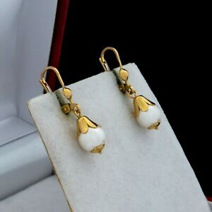 Antique Vintage Deco Retro 14k Yellow Gold Faux South Sea Pearl Dangle Earrings