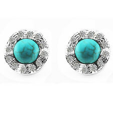 Vintage Circle Turquoise with Rhinestones Studs Earrings E695