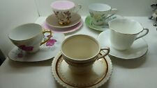 5 ASSORTED CHINA PORCELAIN VINTAGE CUPS SAUCERS QUEEN ANNE TRIO WESTMINSTER