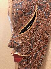 "WOODEN MASK, handmade / Indonesia/ batik /16"""