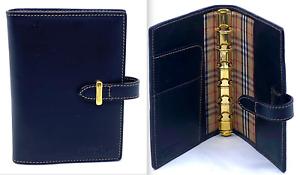Auth BURBERRY Brown Leather Agenda / Notebook Nova Check Plaid Nylon 6 Ring