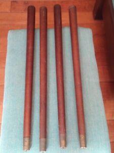 "Set of 4, 23"" Tapered TABLE LEGS Mid Century Modern Vintage WOOD Brass Tips"