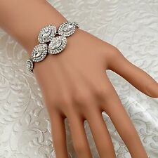 New Rhodium Plated Clear Crystal Rhinestone Statement Bracelet 08685