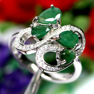 NATURAL 5 X 7 mm. GREEN EMERALD & WHITE CZ RING 925 SILVER STERLING SZ 7.75