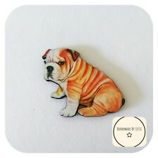 Bulldog Dog Brooch ⭐Wooden ✨ Handmade 🐾 quirky 50mm wrinkles puppy