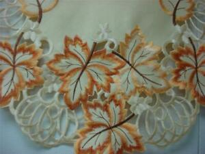 "16""x72"" Embroidered TableClothes Table Runner Autumn Fall Leaf cutwork design"