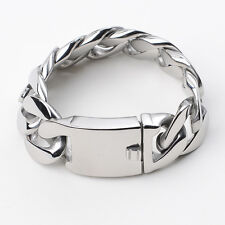 """9""""X25mm Men's Jewelry Silver 316L Stainless Steel Chain Hot Link Bracelet Gift"""