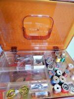 Vintage Sewing Kit Superior Sharps Needles Cleaner Wood Spools Scissor Sharpener
