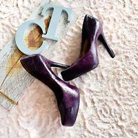 Jessica Simpson Leather Platform Heels Size 6.5 Purple