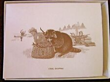 """Raccoon """"Creel Shopping""""Boxed Note Cards 10 Cards 10 Envelopes"""