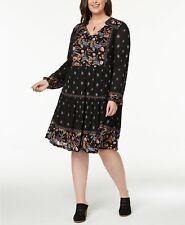 Style&Co Women's Plus Black Floral Print Peasant Black Harvest Dress SIZE 2X