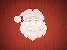 10 x medium SANTA HEAD FATHER CHRISTMAS UNPAINTED CRAFT BLANK WOODEN HANGING TAG
