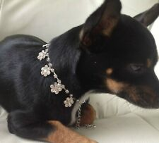 Floral Rhinestone Dog Pet Bling jewellery Collar Small Length 21cm+9cm extender