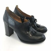 Shoe Embassy EU38 UK5 Black Leather Slip On Zip Tassle Bow Platform Heels Shoes