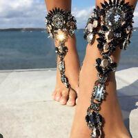 Women Rhinestone Foot Chain Anklet Bracelet Beach Barefoot Sandal Jewelry 1PC