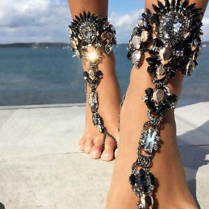 1PCS Jewelry Women Crystal Rhinestone Foot Chain Anklet Bracelet Barefoot Sandal