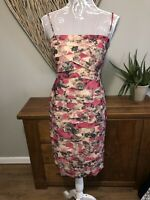 Phase Eight Ladies Size 14 Very Pretty Pink Grey Beige Floral Dress Worn Once