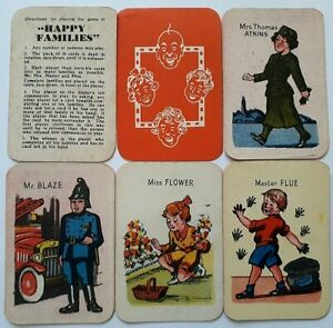 VINTAGE PLAYING CARDS CARD GAME ATKINS HAPPY FAMILIES 1950 36 CARDS RULES BOX