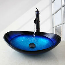 US Unique Hand Painting Bathroom Basin Tempering Glass Bowl & Mixer Taps Faucet