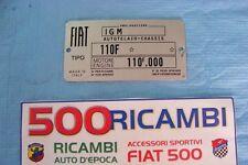 FIAT 500 F/L/R TARGHETTA RIASSUNTIVA DATI IN METALLO TIPO FIAT PER VANO MOTORE