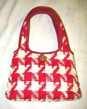 Vintage Authentic MIU MIU TOTE bag Leather and Wool BIG Herringbone RED IVORY