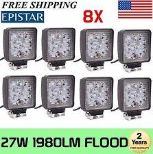 8X 27W LED Work Light Flood Square Beam Off-road Driving Fog Lamp Truck ATV SUV