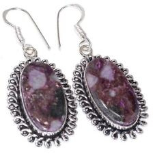 "Handmade Purple Natural Charoite Jasper 925 Sterling Silver Earrings 2"" #E00309"