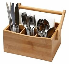 Bamboo 4 Compartment Utensil Flatware Cutlery Caddy Holder with Handle 336