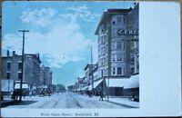 Rockford, IL 1910 Postcard: West State Street / Downtown - Illinois Ill