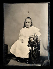 SUPERB 1/6 PLATE TINTYPE - CHARMING PAIR OF DOLLS - ONE HUMAN & ONE A TOY - LOOK