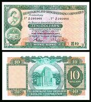 Hong Kong 10 $ DOLLARS 1983  PICK # 182 GEM UNC /***