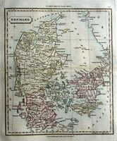 SCANDINAVIA DENMARK  Original Hand Coloured Antique Map 1828