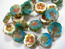 10 beads - Ocean's Edge Aqua White Picasso Czech Glass Flower Beads 14mm
