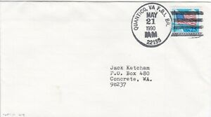 USAP083) Cover USA 1990, cancellation by Post Office at the FBI Academy at Quant
