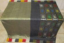 Pure silk Antique Vintage Sari HUCE LOT 4y F18 301 Grey Black DECOR #ABFIS