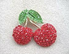 Dazzling Red & Green Crystal Double Cherry Brooch