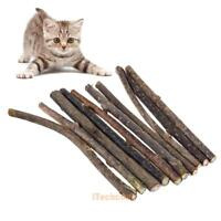 10PCS Natural Silvervine Pet Cat Molar Toothpaste Chew Stick Cleaning Teeth Toy
